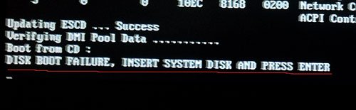 Как исправить ошибку DISK BOOT FAILURE,INSERT SYSTEM DISK AND PRESS ENTER?
