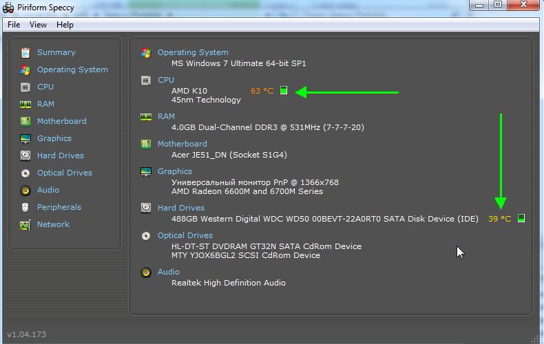 Piriform Speccy-температура HDD и процессора