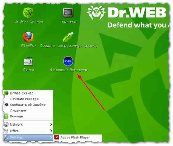 Удаление файлов и папок с помощью Dr.Web LiveCD