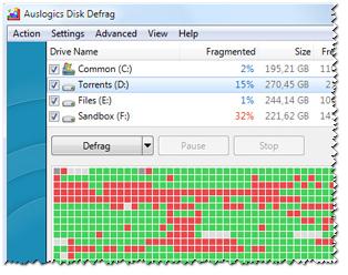disk-defrag - работа софта