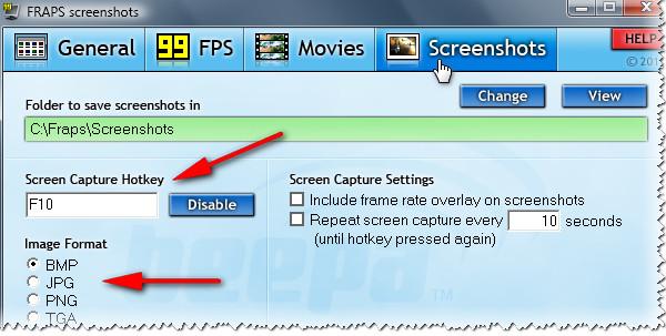 Fraps - окно настройки ScreenShot