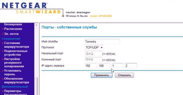 порты-службы в роутере Netgear