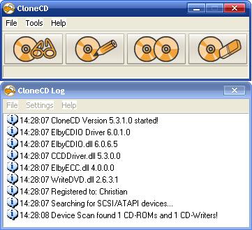 Главное меню программы Clone CD.