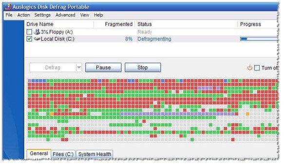 Дефрагментация диска в утилите  Auslogics Disk Defrag