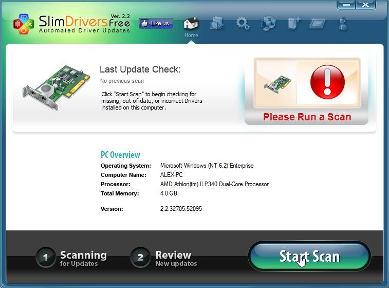 Интерфейс программы SlimDrivers