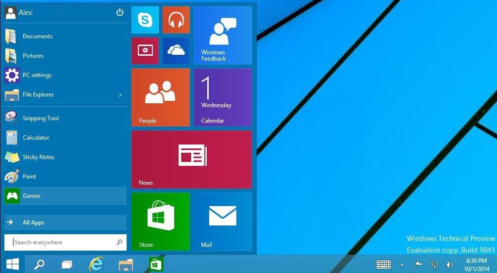 8 - меню пуск в Windows 10