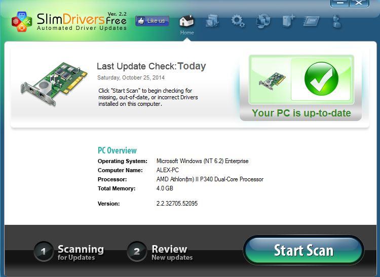 Проверка и обновление драйверов в программе SlimDrivers