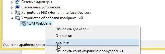 удаление драйвера веб-камеры