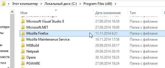 Копируем папку с браузером из папки Program Files