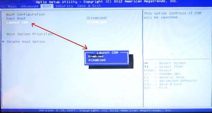 на ноутбуке с UEFI BIOS