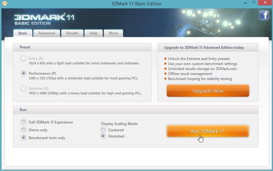 1 запуск теста в 3d Mark