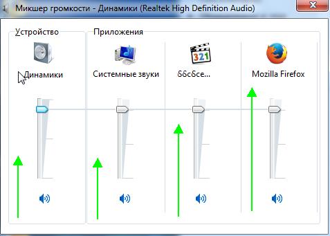 Микшер громкости - Динамики (Realtek High Definition Audio)