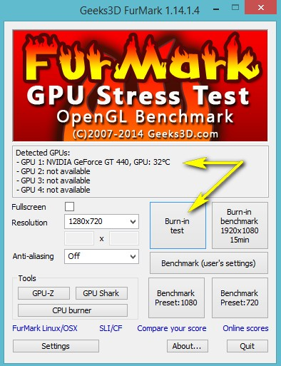1-запуск fumark для проверки работоспособности видеокарты