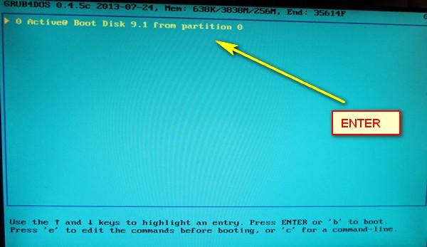 загрузка с флешки - activeboot записанный в winsetup