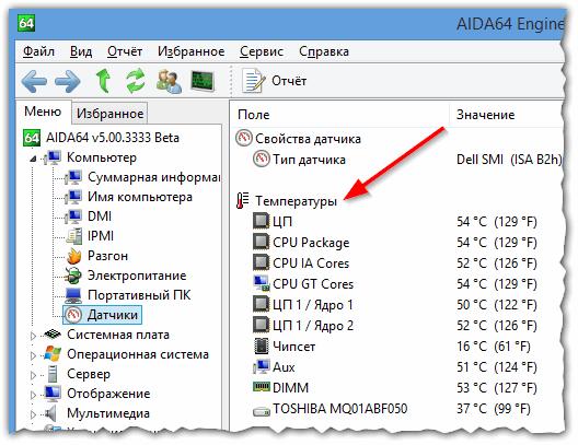 Рис. 3. AIDA64 - раздел датчики