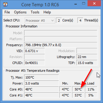 Рис. 5. Core Temp 1.0 RC6