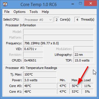 Рис. 5. Core Temp 1.0 RC6