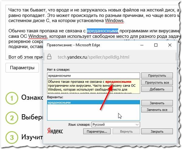Рис. 5. Яндекс спеллер