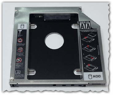 Рис. 3. Universal 12.7mm SATA to SATA 2nd Aluminum Hard Disk Drive HDD Caddy for Laptop Notebook