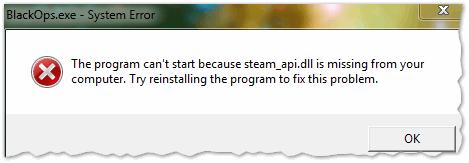 Рис. 1. Ошибка, связанная с отсутствием steam_api.dll