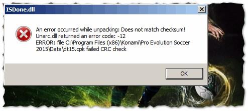 произошла ошибка при распаковке unarc dll вернул код ошибки 8
