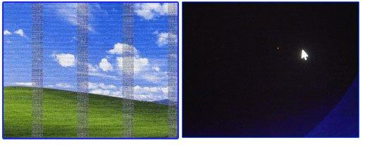 Рис. 1. Артефакты на видеокарте (слева), битый пиксель (справа).