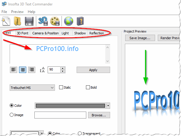 Insofta 3D Text Commander 3.0.3 - главное окно программы.
