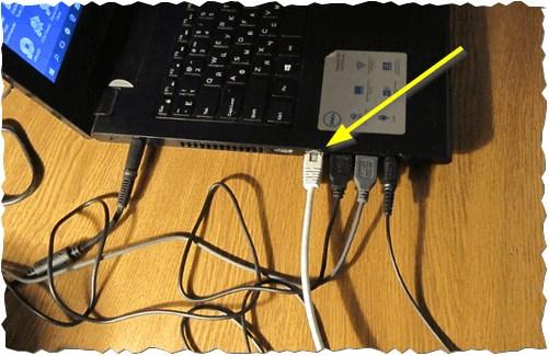 Подключение кабеля к ноутбуку