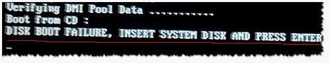 Пример ошибки (Disk boot failure)