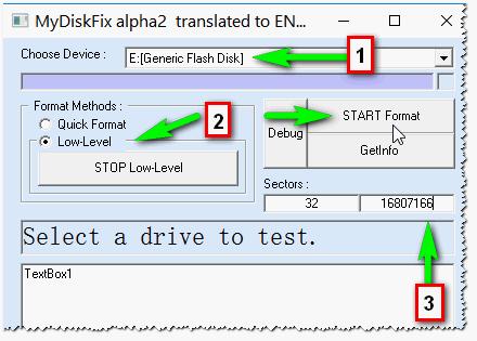 Рис. 2. MyDiskFix: форматирование флешки, восстановление ее реального размера.