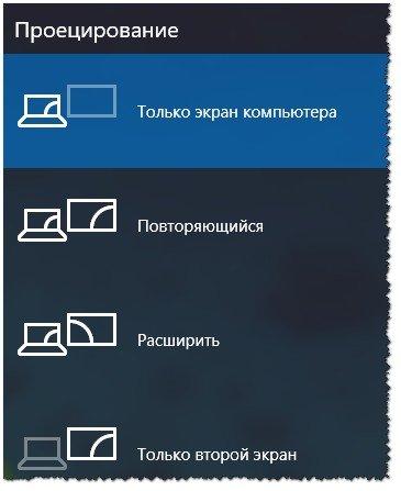 Проецирование (второй экран)