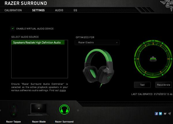 Razer Surround - главное окно программы.