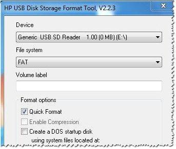 Интерфейс программы USB Disk Storage Format Tool
