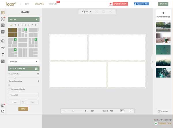 Онлайн-сервис для создания коллажей Fotor.com