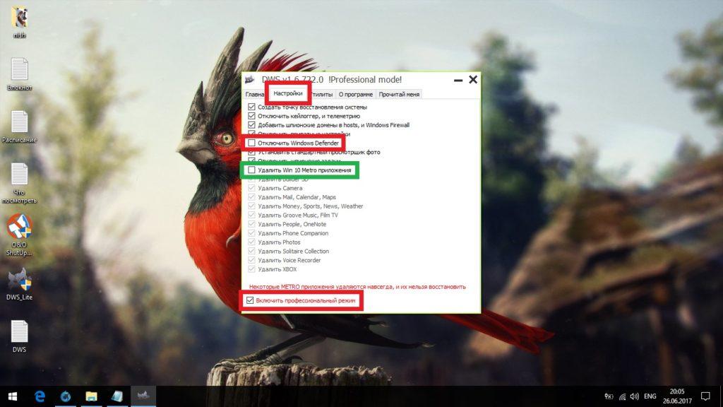 Настройка Destroy Windows Spying