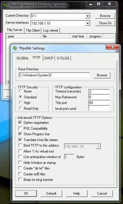 Настройки tftpd32/tftpd64
