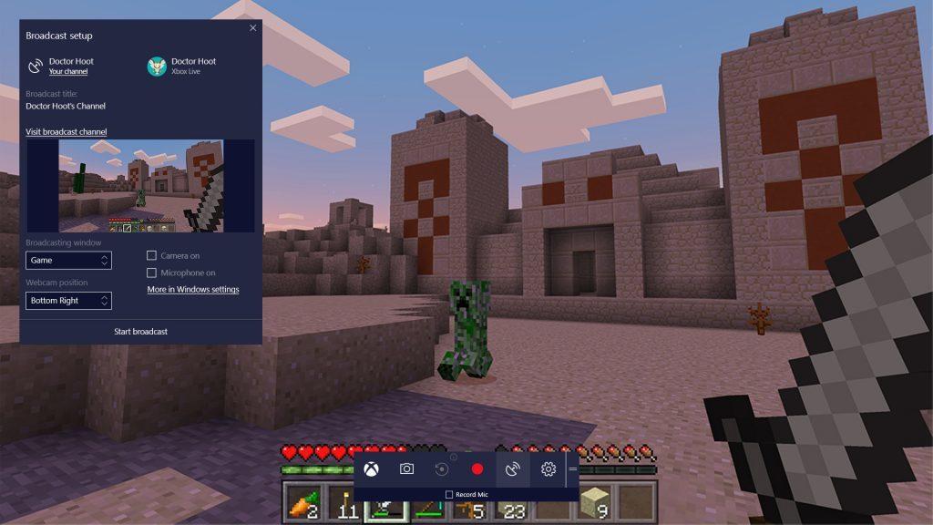 Интерфейс игры со встроенной видеотрансляцией