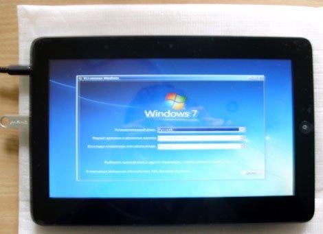 Планшет с Windows 7, готовой к установке