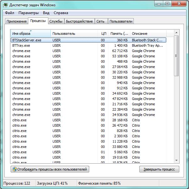 Клоны «chrome.exe» в «Диспетчере задач»