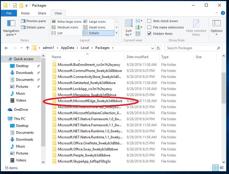 Папка MicrosoftEdge_8wekyb3d8bbwe в папке Packages