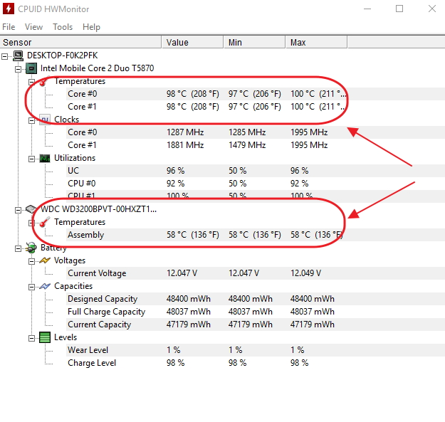 Пункт «Температура» в панели программы HWMonitor