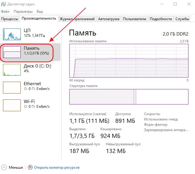 Пункт «Память» во вкладке «Производительность» в окне «Диспетчера задач»