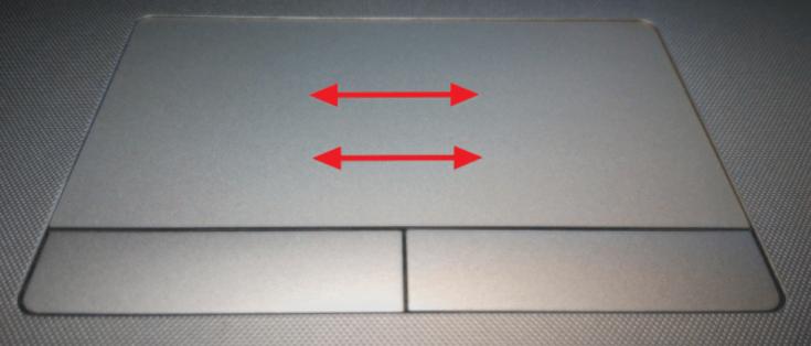 Движение вправо или влево с помощью тачпада