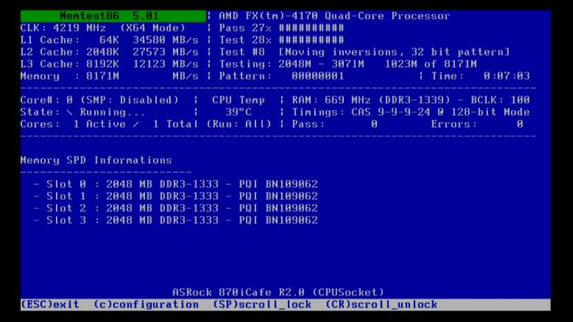 Основной экран Memtest86+
