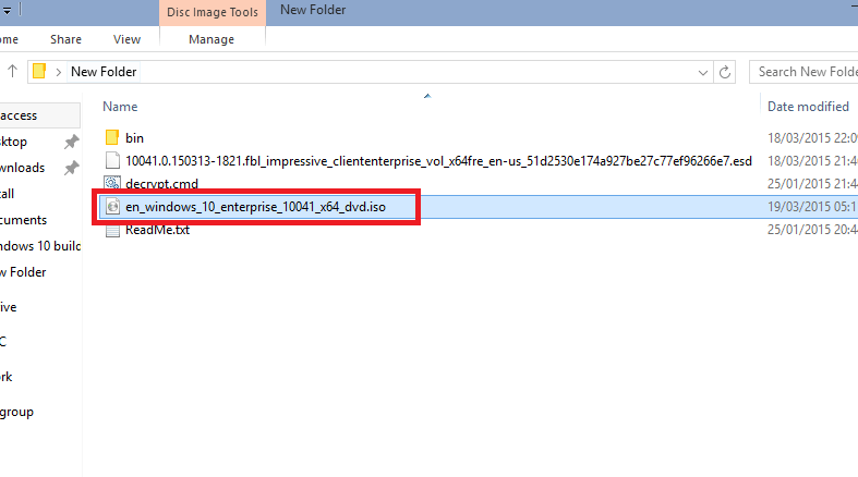 Поиск образа Windows 10