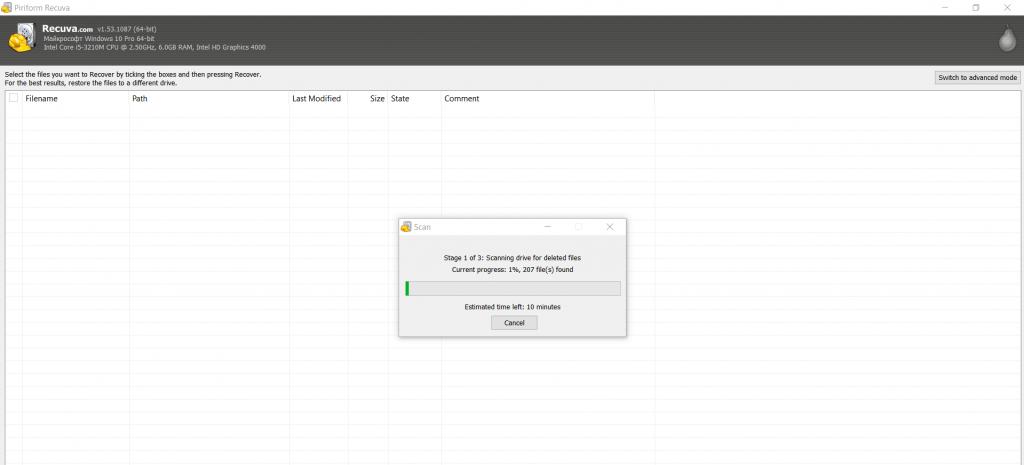 Процесс восстановления файлов в программе Recuva