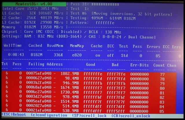 Уведомления Memtest86+ о BAD-кластерах ОЗУ