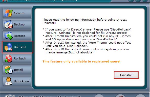 Вкладка Uninstall в программе DirectX Happy Uninstall
