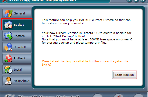 Вкладка Backup в программе DirectX Happy Uninstall