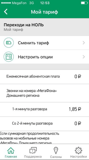 Информация о тарифе в приложении «Мегафон»